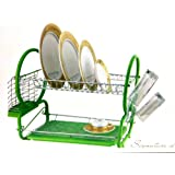 2 TIER Chrome Dish drainer and cutlery rack With Plastic Tray In Green New