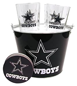 NFL Satin Etch Bucket and 4 Glass Gift Set by Boelter Brands