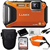 Panasonic Lumix DMC-TS5 16.1 MP Tough Digital Camera with 9.3x Intelligent Zoom (Orange) + Sandisk 16GB Ultra SDHC Memory Card + Extended Life Replacement Battery + Floating Wrist Strap + Micro HDMI Cable + Carrying Case + Microfiber Cleaning Cloth