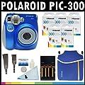 Polaroid Appareil photo analogue � film instantan� PIC-300 (noir) avec (5) paquets de 10 films instantan�s Polaroid 300 + trousse Polaroid en n�opr�ne + kit de nettoyage Polaroid + courroie de cou et de poignet + (4) piles AA et chargeur