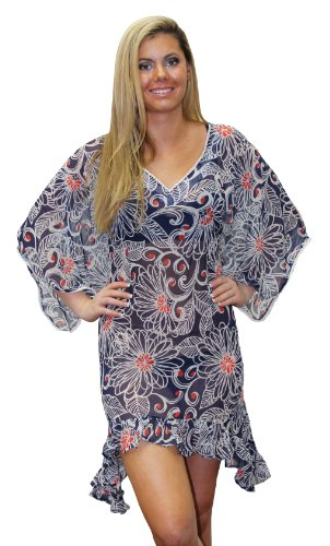 La Leela Allover Print Sheer Chiffon Beach Cover up Blue