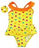 Sweet & Soft Baby-Girls Ruffle Heart Skirted Hair Tie 1 Pc Swim Suit 12M Yellow