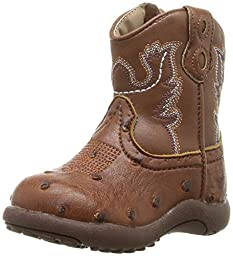 Roper Bumps Square Toe Ostrich Boot (Infant/Toddler/Little Kid/Big Kid), Tan, 2 M US Infant