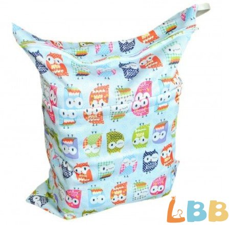 LBB(TM) Solid Baby Wet and Dry Cloth Diaper Bag,Blue Owl