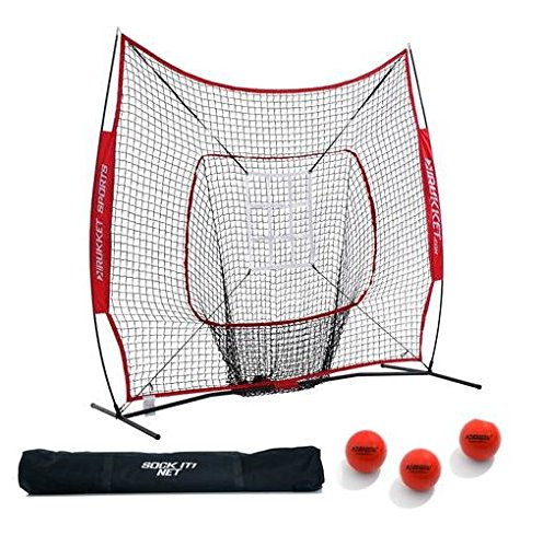 Rukket 7x7 Baseball & Softball Practice Hitting Net PRO Bundle w/ 3 Training Balls & Strike Zone (Lifetime Warranty) (Bow Targets Ball compare prices)