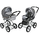 Roan Kortina Classic Pram Stroller 2-in-1 with Bassinet and Seat - Multiple Colors (Shades of Grey)