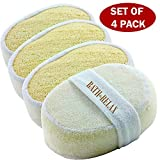 Exfoliating Loofah Bath Sponge Pads Pack Of 4 - Ultra Thick, Great For Exfoliating Shower - 100% Natural - Best Luffa Sponge And Spa Scrubber For Men And Women - Body wash sponge