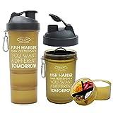 #10: Sinew Nutrition All In One Smart Shaker Bottle 600ml - 20 oz (Brown/Black)