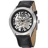 Reloj Stuhrling 765.01 Symphony Aristocrat automático, esqueleto a la vista, dial negro y pulsera de cuero.