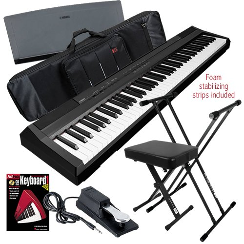 Yamaha P-105 Digital Piano Stage Bundle W/ Keyboard Bag, Stand & Bench