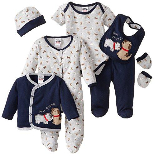 Peanut Buttons Babys Newborn Dog 8 Piece Bib Set, Grey, 6-9 Months