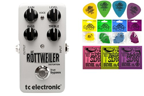Tc Electronic Rottweiler Distortion Bundle - 2 Items: Ernie Ball Guitar Strings, 1 Dozen Dunlop Tortex Picks