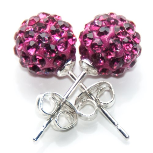 Busy Bead Pair of Shamballa Stud Earrings With Fuchsia Crystal Rhinestone Clay Disco Ball 10mm