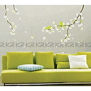 Easy Instant Decoration Wall Sticker Decal - Spring Flowers and Birds