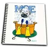 db_23306_1 Laura J Holman Art Moe the Pug - Pug pug in tub bath dog bathing Pug dog bath mice cleaning washing dog washing dog - Drawing Book - Drawing Book 8 x 8 inch