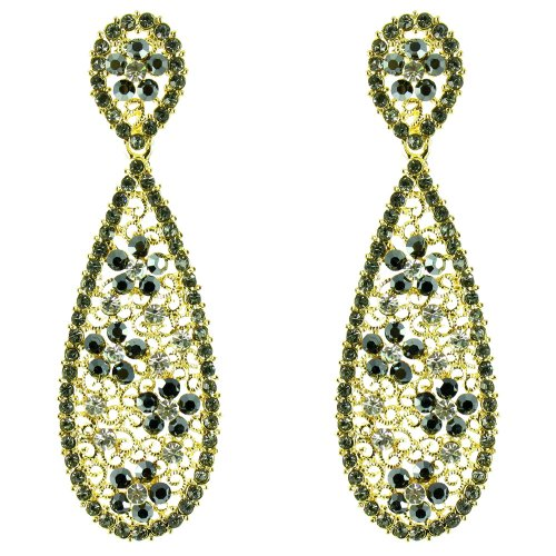 Black And Clear Crystal On Gold Plated Filigree Long Teardrop Earrings front-740925
