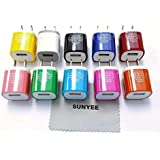 [10-Pack] SUNYEE 10 Color 2-Tone USB AC Home Wall Travel Charger Adapter for iPhone 6 6 Plus 5 5S 5C, iPad 2 3 4, iPad Air, iPad Mini, iPad, Samsung Galaxy, Nexus, HTC, Motorola, LG and More