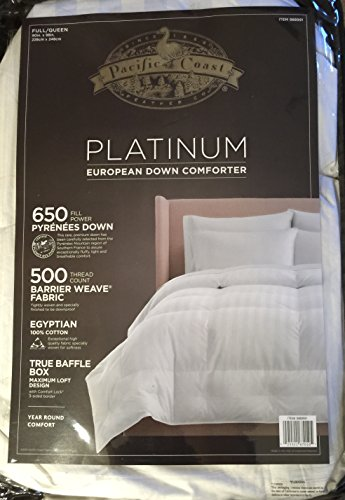 Buy Bargain Pacific Coast Platinum European Down Comforter - Year Round Comfort (Full/Queen)