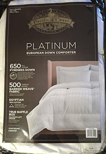 Buy Bargain Pacific Coast Platinum European Down Comforter - Year Round Comfort (Full/Queen)