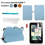 Foxnovo 4-in-1 PU Flip Case Stylus Pen Screen Guard Cloth Set for Lenovo IdeaTab A3000 7-inch Tablet PC (Sky-blue)