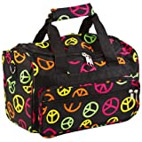 "Small 13"" Little Girls Peace Sign Print Duffle Dance Cheer Bag"