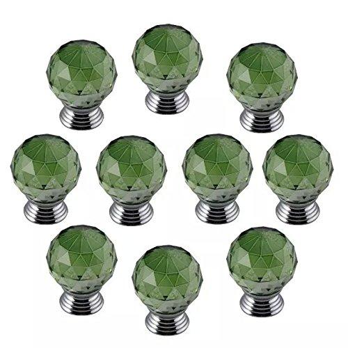 DECOOL (TM) Grün 10 PCS 30mm Kristall Glas Möbelknopf Möbelknöpfe Möbelgriffe Möbelknauf Griff Knopf Schrank griff Türknöpfe Türknauf Bling Dekoraktion günstig kaufen