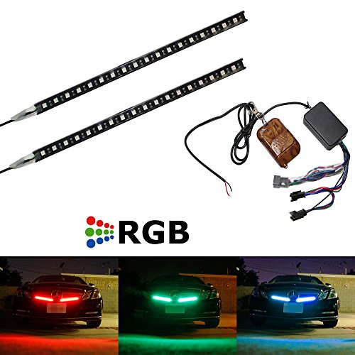 """Ijdmtoy (2) Strip 12"""" 7-Color Rgb 36-Led Knight Night Rider Scanner Lighting Bars W/Remote Control For Car Suv Truck, Etc"""