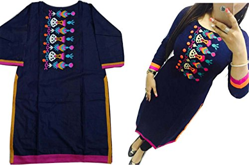 selfie-kurti-kurtis-for-women-kp-2001Selfie-style-Trendy-Blue-color-cotton-Embroidery-semi-stitched-Long-kurti
