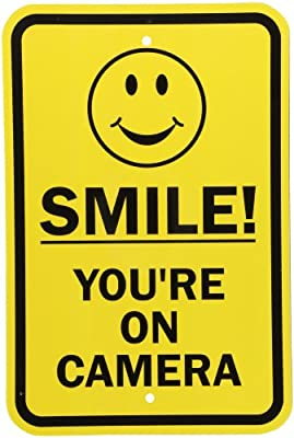 "SmartSign Security Sign, Legend ""Smile! You're On Camera"" with Graphic, Black on Yellow"