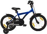 PROMETHEUS Kinderfahrrad 16 Zoll Jungen Kinderrad in Farbe Blau & Schwarz mit Stützrädern