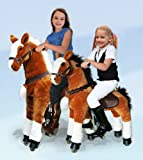 UFREE Large Mechanical Rocking Horse Toy, Ride on Bounce up and Down and Move, 44'' for Children 4 to 15 Years Old (White Mane&Tail)