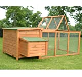 Pawhut Deluxe Wooden Chicken Coop with Backyard Outdoor Run, 87""