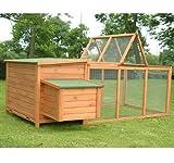 """Pawhut Deluxe Wooden Chicken Coop with Backyard Outdoor Run, 87"""""""