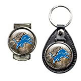 DETROIT LIONS NFL NFL OPEN FIELD LEATHER FOB KEY CHAIN & MONEY CLIP SET by NYC Leather Factory Outlet