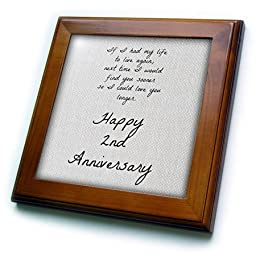 BrooklynMeme Love Saying - 2nd Anniversary I could love you longer on faux cotton-like background - 8x8 Framed Tile (ft_221893_1)