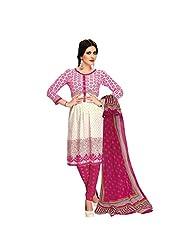 Siddhi Cotton Pink & White Printed Salwar Suit & Dupatta Material