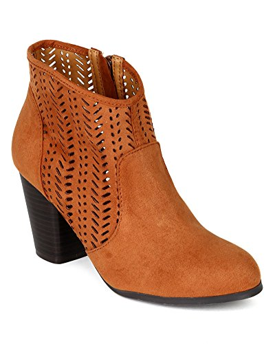 Qupid BI49 Women Suede Perforated Chunky Heel Western Riding Bootie - Rust