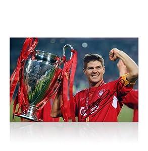 Steven Gerrard Signed Liverpool Photo - Champions League Small from A1 Sporting Memorabilia