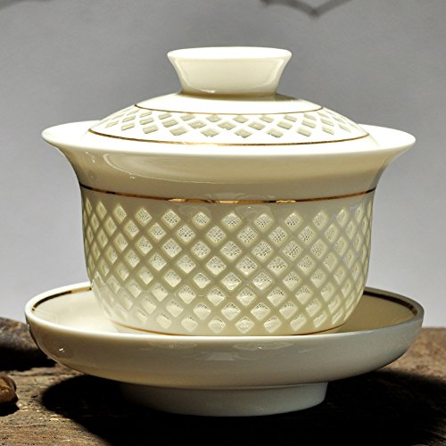 XDOBO Lantern Design Chinese Traditional Ceramic Gongfu Teacup Set- Gaiwan Tea Cup - Includes Cup, Saucer and Lid (Gold)