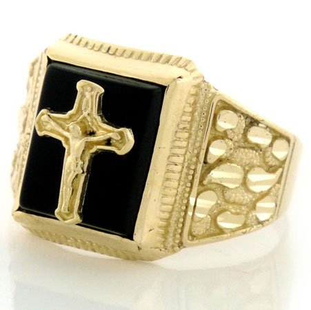 9ct Solid Gold Nugget Onyx Mens Ring With Crucifix
