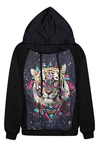 Pink Wind Hot Pullover Tiger Digital Print Sweatshirt Hoodies