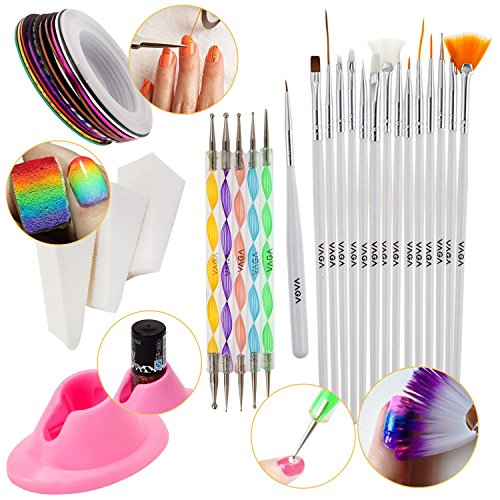 Nail-Art-Set-With-3pcs-Manicure-Gradient-Designs-Stamping-Wedges-Silicone-Anti-Spill-Slip-Polish-Bottles-Holder-5-Dotting-Tools-10-Rolls-of-Colorful-Striping-Tapes-And-15-Nailart-Brushes-By-VAGA