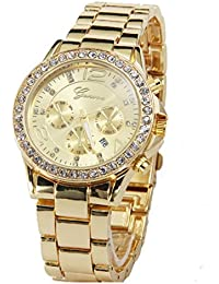 COSMIC Stainless Steel Strap Gold Color Dial Unisex Watch With Date Feature.