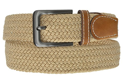Tan Braided Elastic Stretch Belt With Metal Buckle and Leather tipped end by Marshal