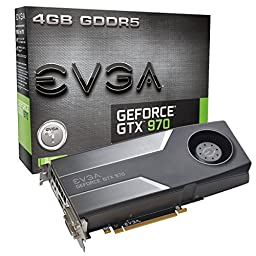 EVGA GTX 970 4GB GDDR5 256bit, DVI-I, DVI-D, HDMI, DP SLI Ready Graphics Card (04G-P4-1970-KR)
