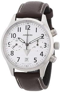 Junkers Herren-Armbanduhr XL Wellblech JU52 Chronograph Handaufzug Leder 62161