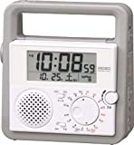 SEIKO CLOCK (セイコー クロック) デジタル 防災 目覚し時計 ラジオ 懐中電灯 手動発電機 SQ692W