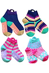 Kids Socks with Easy Pull Loops and Seamless Toe, Purple Multi, Pink Polkadots, Stripes