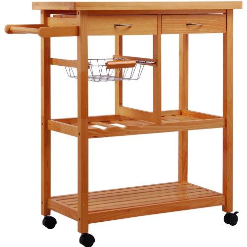 Carrello da cucina - carrellino da cucina tavolo con cassetti in legno ...