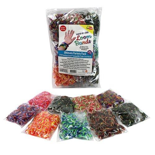Telar de gomas - 2700 Pc Triple Color goma Mega valor Refill Pack (300 cada uno de 9 triples diferentes bandas de colores) con Clips de 80 - 100% libre de látex